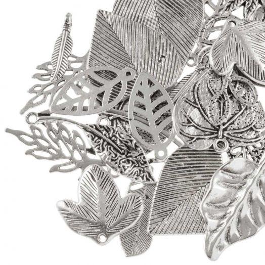 Pendant Mix Blätter (verschiedene Größen) Altsilber (130 Stück)
