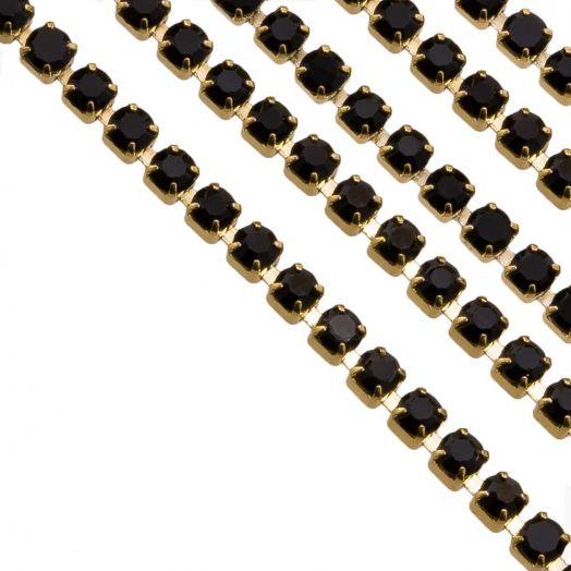 Edelstahl Strasskette (2 mm) Black / Gold (2 Meter)