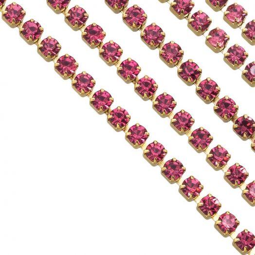 Edelstahl Strasskette (2 mm) Pink / Gold (2 Meter)