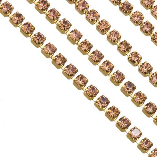 Edelstahl Strasskette (2 mm) Peach / Gold (2 Meter)