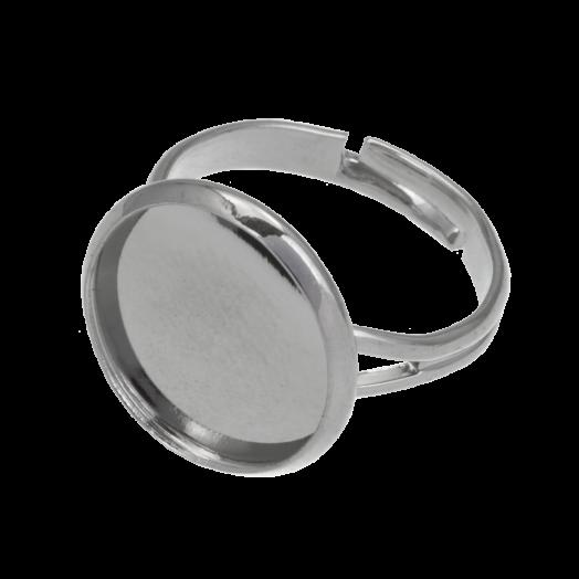 Verstellbare Ring (für 14 mm Cabochon) Altsilber (5 Stück)