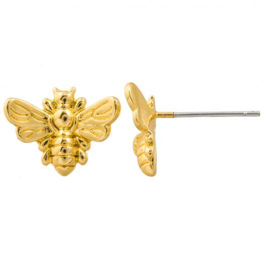 Ohrstecker Biene (13 x 9 mm) Vergoldet (4 Stück)