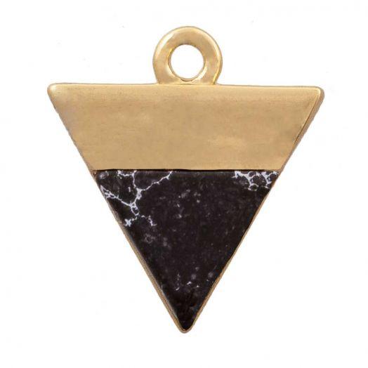 Charm mit Naturstein, schwarzer Turmalin (13 x 12 mm) Gold (1 Stück)