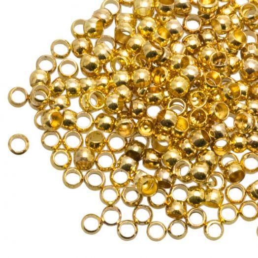 Quetschperlen (Innenmass 1.2 mm) Gold (730 Stück)