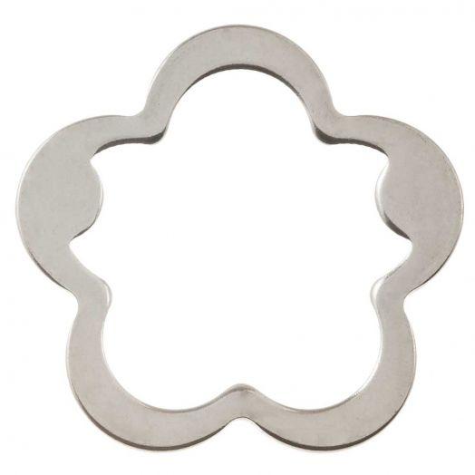 Edelstahl Geschlossener Ringe (21.5 mm, Innenmaß 17 mm) Altsilber (5 Stück)