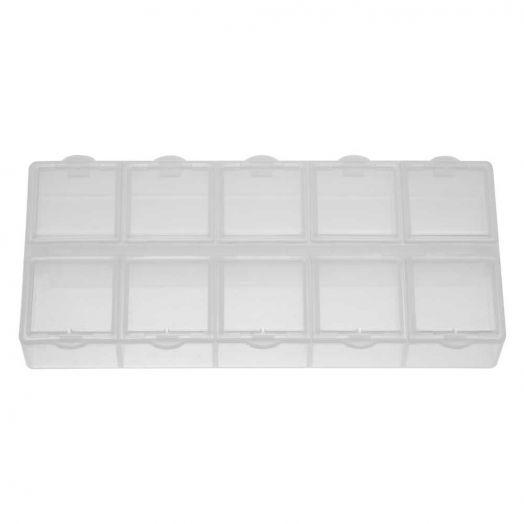 Aufbewahrungsbox mit 10 Fächern (transparent)