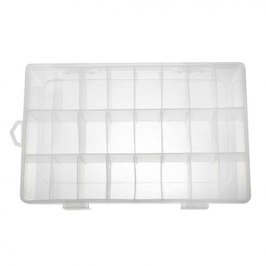 Aufbewahrungsbox mit 24 Fächern (transparent)