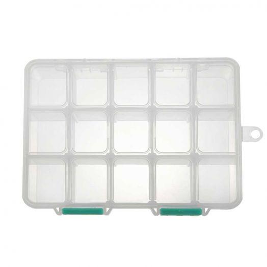 Aufbewahrungsbox mit 15 Fächern (transparent)