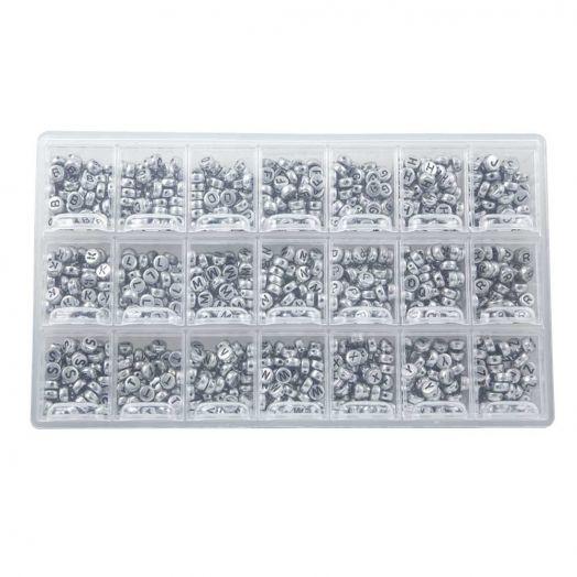 Sortierkasten - Buchstabenperlen Konsonanten (8 x 4 mm) Silver (50 Perlen pro Buchstabe)