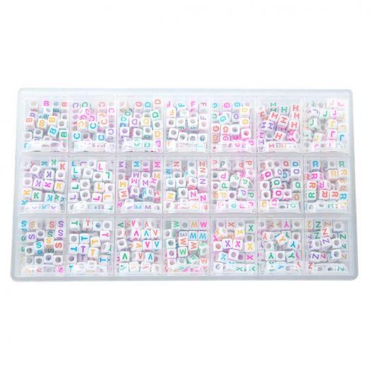 Sortierkasten - Buchstabenperlen Konsonanten (6 x 6 mm) Mix Color (44 Perlen pro Buchstabe)