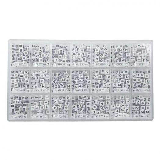 Sortierkasten - Buchstabenperlen Konsonanten (6 x 6 mm) White (44 Perlen pro Buchstabe)