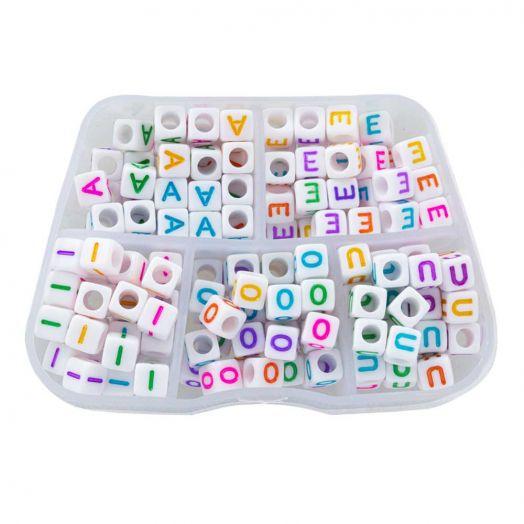 Sortierkasten - Buchstabenperlen Vokale - (6 x 6 mm) Mix Color (35 Perlen pro Buchstabe)