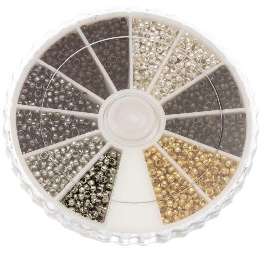 Sortierkasten - Quetschperlen (Innenmass 1 mm) Mix Color (3000 Stück)