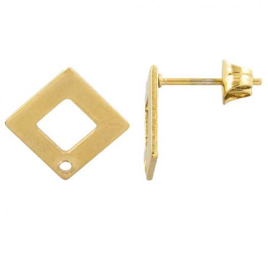 Edelstahl Ohrstecker mit Verschluss (13 x 13 mm) Gold (4 Stück)