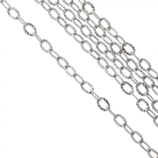Edelstahl Gliederkette (3.5 x 2.5 x 0.4 mm) Altsilber (10 Meter)
