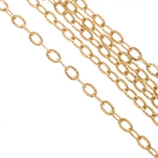 Edelstahl Gliederkette (3.5 x 2.5 x 0.4 mm) Gold (10 Meter)