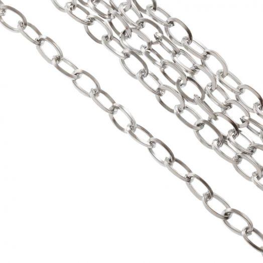 Edelstahl Gliederkette (7 x 4 x 0.8 mm) Altsilber (10 Meter)