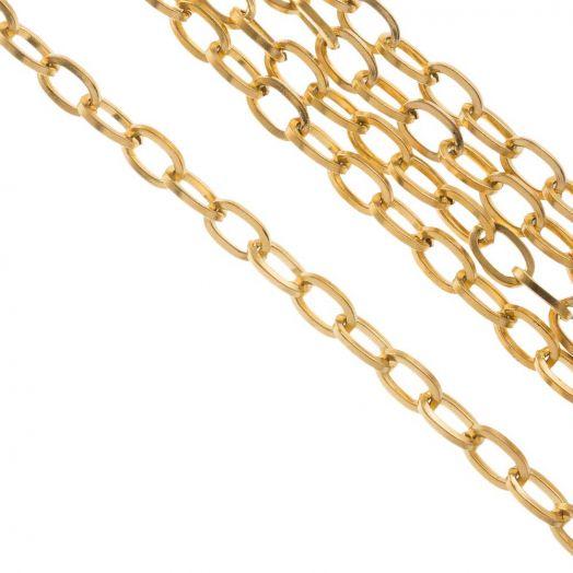 Edelstahl Gliederkette (7 x 4 x 0.8 mm) Gold (10 Meter)