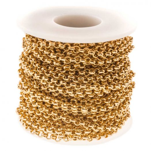 Edelstahl Gliederkette (4 mm) Gold (10 Meter)