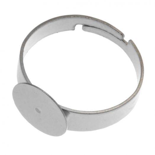Edelstahl Verstellbare Ring (Fach 10 mm) Altsilber (5 Stück)