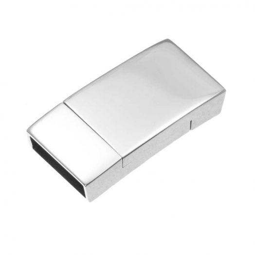 Edelstahl Magnetverschluss (Innenmaß 12 x 3 mm) Altsilber (1 Stück)
