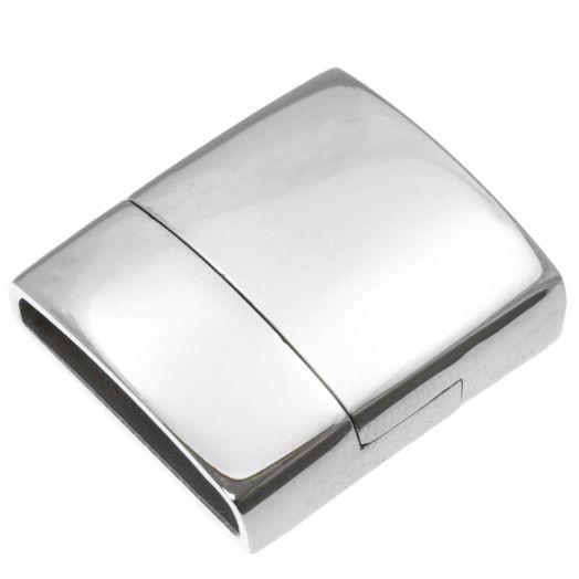 Edelstahl Magnetverschluss (Innenmaß 18.5 x 4 mm) Altsilber (1 Stück)