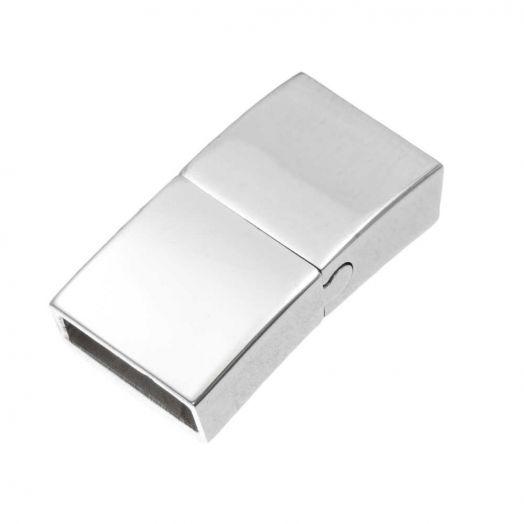 Edelstahl Magnetverschluss (Innenmaß 10 x 3 mm) Altsilber (1 Stück)