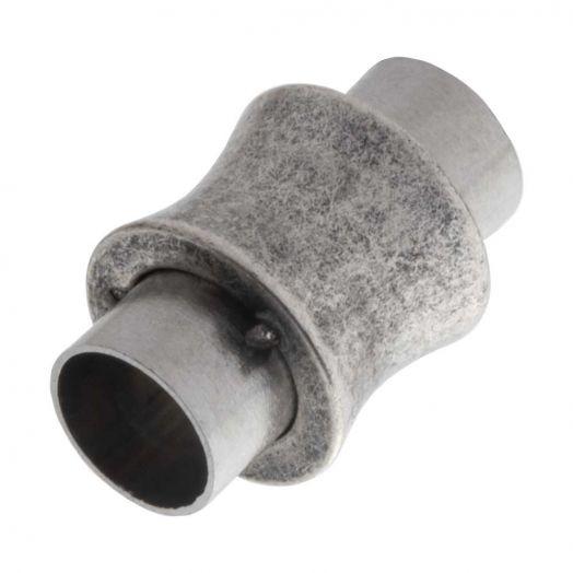 Edelstahl Magnetverschluss Matt (Innenmaß 6 mm) Altsilber (1 Stück)