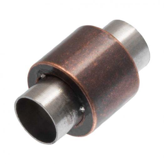 Edelstahl Magnetverschluss Matt (Innenmaß 6 mm) Red Copper (1 Stück)
