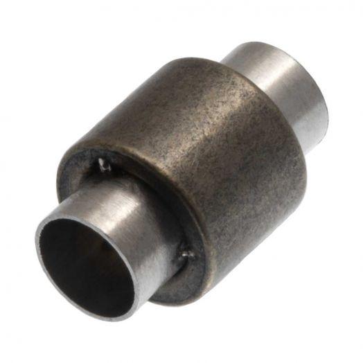 Edelstahl Magnetverschluss Matt (Innenmaß 6 mm) Bronze (1 Stück)