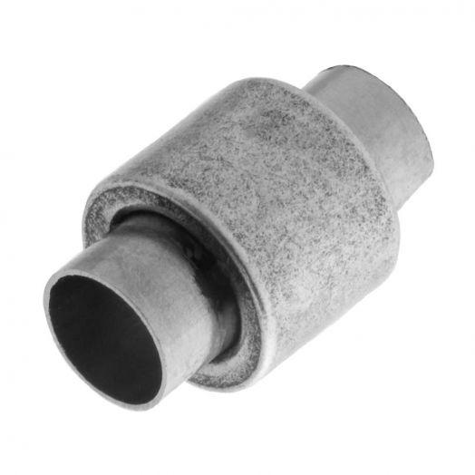 Edelstahl Magnetverschluss Matt (Innenmaß 6mm) Altsilber (1 Stück)