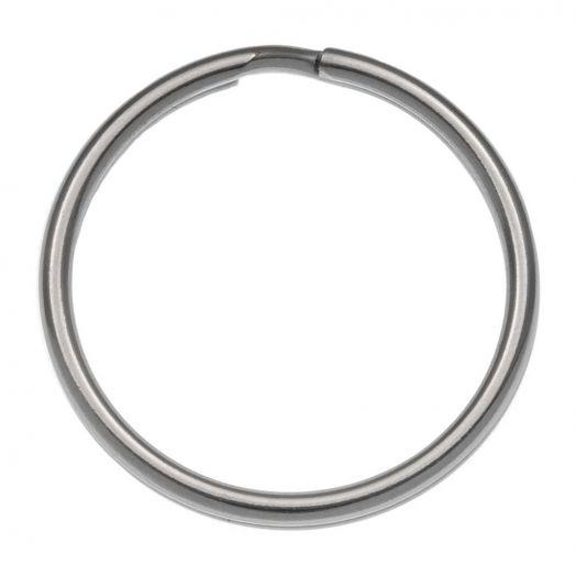 Edelstahl Schlüsselring (24 mm) Altsilber (15 Stück)