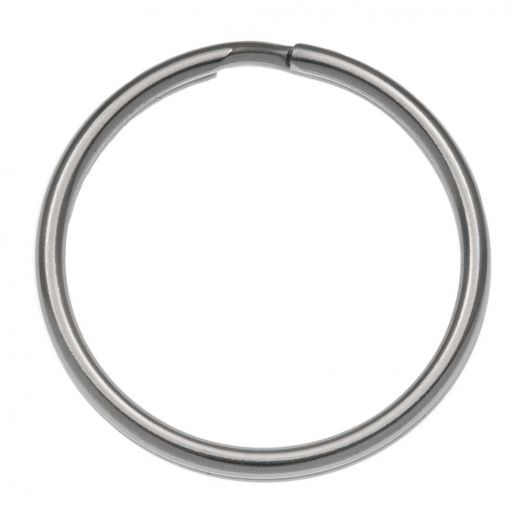 Edelstahl Schlüsselring (18 mm) Altsilber (20 Stück)