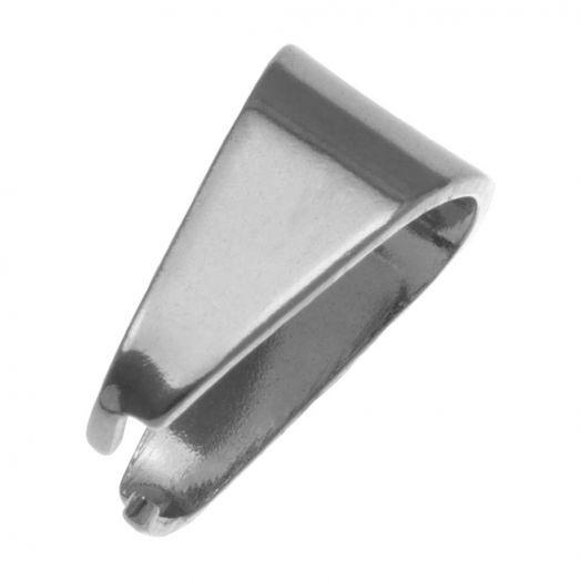 Edelstahl Collierschlaufe (13 x 12 mm) Altsilber (20 Stück)