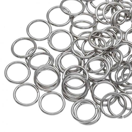 Edelstahl Biegeringe (10 mm Dicke 1.2 mm) Altsilber (100 Stück)