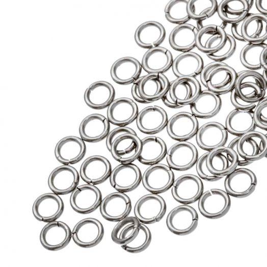 Edelstahl Biegeringe (4 mm Dicke 0.8 mm) Altsilber (100 Stück)