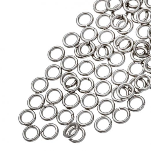 Edelstahl Biegeringe (4 mm Dicke 0.5 mm) Altsilber (100 Stück)