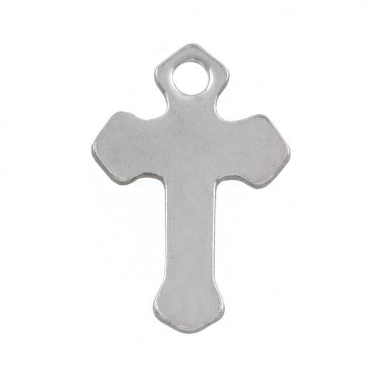 Edelstahl Charm Kreuz (12 x 8.5 mm) Altsilber (50 Stück)