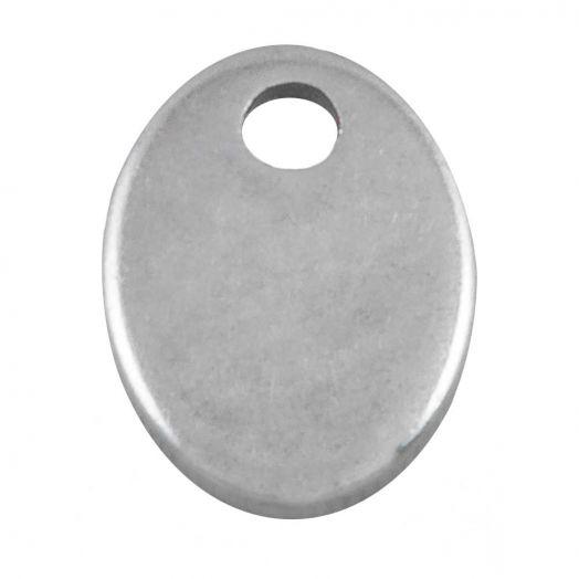 Edelstahl Charm (12 x 7 mm) Altsilber (100 Stück)