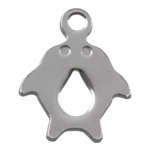 Edelstahl Charm Delphin (12.5 x 10 mm) Altsilber (50 Stück)