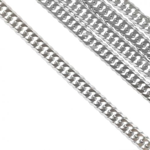 Edelstahl Gliederkette (6 x 3 mm) Altsilber (2.5 Meter)