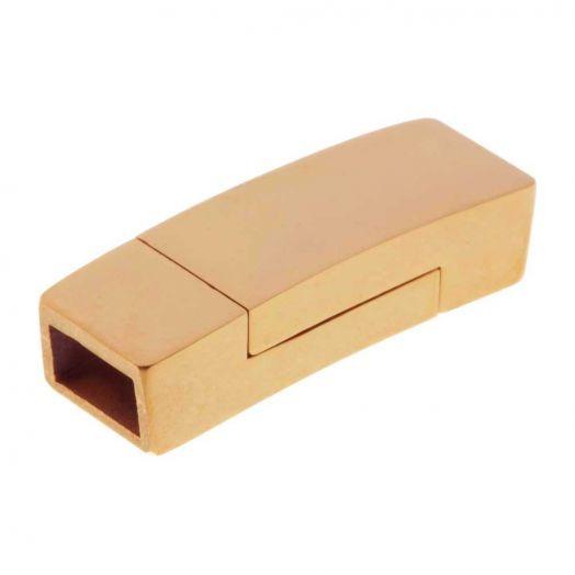 Edelstahl Magnetverschluss Matt (Innenmaß 6 x 3.5 mm) Gold (1 Stück)
