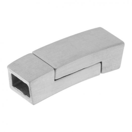 Edelstahl Magnetverschluss Matt (Innenmaß 5.5 x 3 mm) Altsilber (1 Stück)