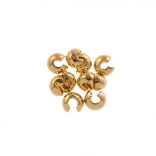 Edelstahl Kaschierperlen (4 mm) Gold (25 Stück)