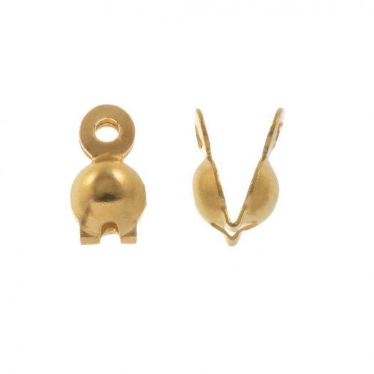 Edelstahl Quetschkalotten (4 mm) Gold (10 Stück)