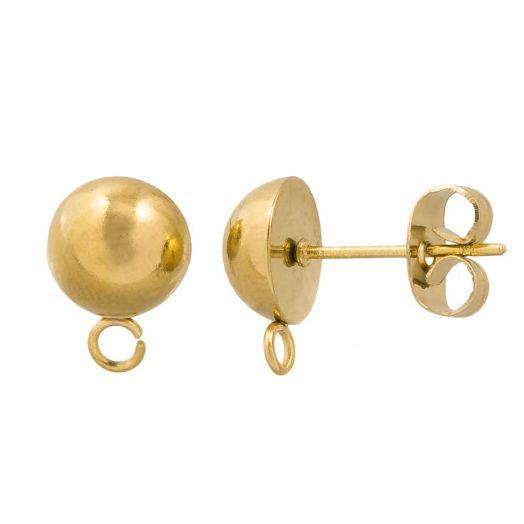 Edelstahl Ohrstecker mit Verschluss (11 x 8 mm) Gold (4 Stück)