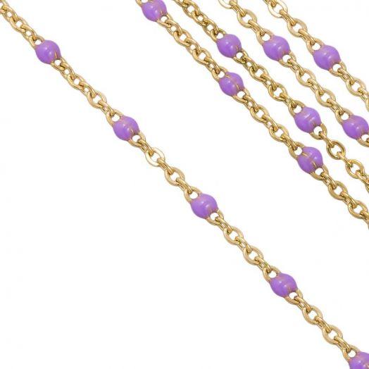 Edelstahl Gliederkette (2 x 1.5 mm) Purple / Gold (2,5 Meter)