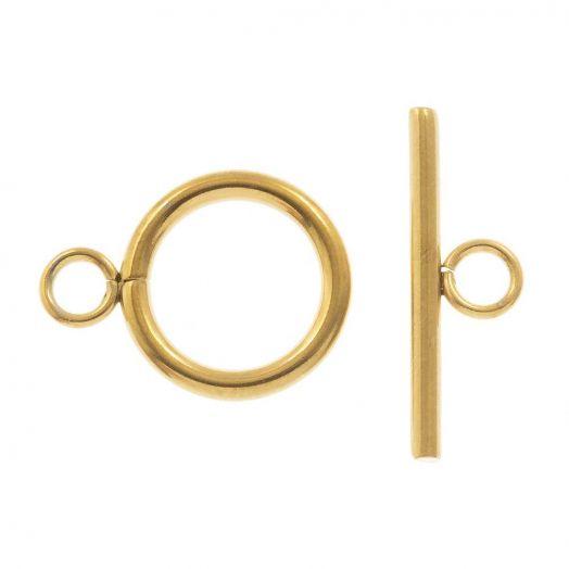Edelstahl Knebelverschluss (13 mm Außenmaß / 10 mm Innenmaß) Gold (10 Stück)