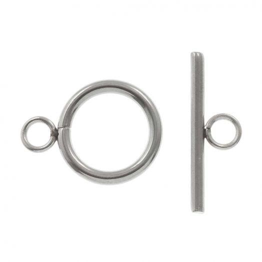 Edelstahl Knebelverschluss (13 mm Außenmaß / 10 mm Innenmaß) Altsilber (10 Stück)