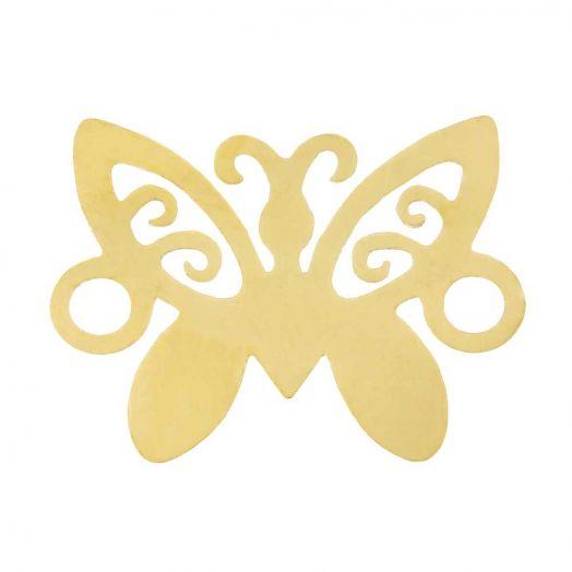 Edelstahl Zwischenstück 2 Ösen Schmetterling (12 x 9 mm) Gold (5 Stück)